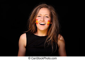 Spanish Fan - A picture of a young woman with Spanish flags...