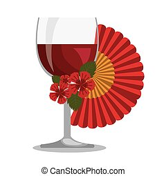 spanish fan with wine cup