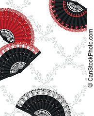 Spanish Fans - Patterned background with spanish fans