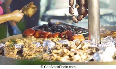 Spanish festival traditional cuisine. Close up. - Spanish...