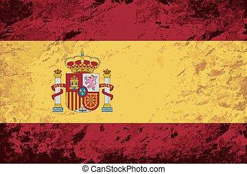 Spanish flag. Grunge background.