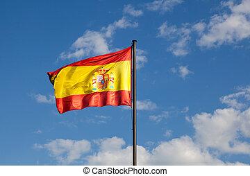 Spanish Flag in a Blue Sky