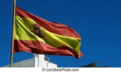 Spanish flag in wind