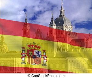 Spanish flag on a background of sky The Cathedral ALmudena....