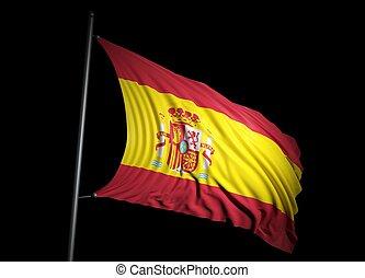 Spanish flag on black background