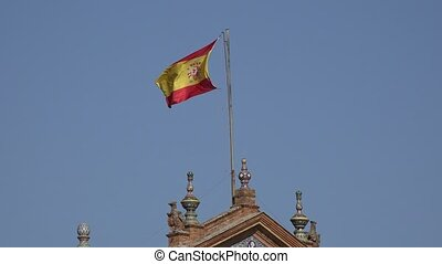 Spanish Flag On Flagpole