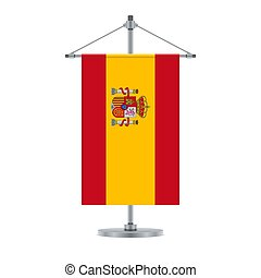 Spanish flag on the metallic cross pole, vector illustration