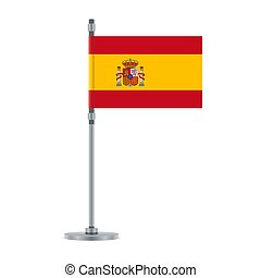 Spanish flag on the metallic pole, vector illustration