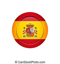 Spanish flag on the round button, vector illustration