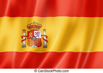 Spanish flag - Spain flag, three dimensional render, satin...
