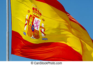 Spanish flag - Spanish constitutional flag waving in the...
