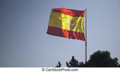 Spanish flag waving in the wind