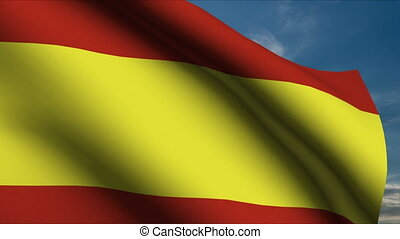 Spanish Flag waving in wind with clouds in background