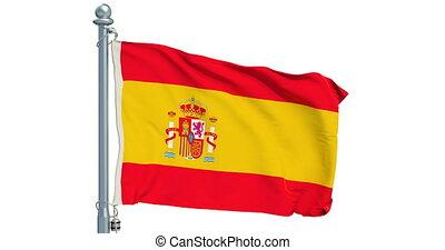 Spanish flag waving on white background, animation. 3D...