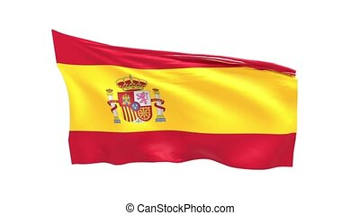 Spanish flag waving on white