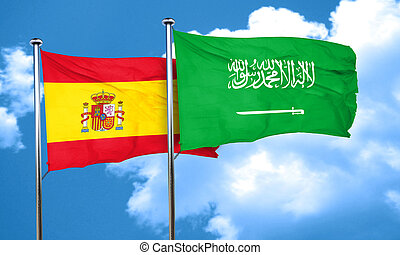 Spanish flag with Saudi Arabia flag, 3D rendering