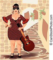 Spanish flamenco beautiful woman