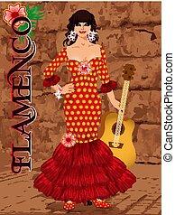 Spanish flamenco dancer girl with guitar, invitation card,...