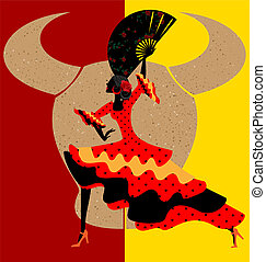 Spanish flamenco - on abstract red-yellow background is...