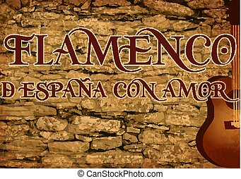 Spanish flamenco party invitation card with guitar, vector...