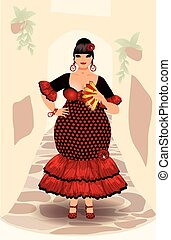 Spanish flamenco woman vector