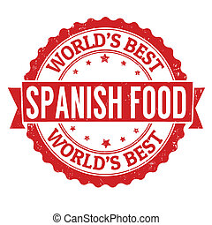 Spanish food stamp - Spanish food grunge rubber stamp on...