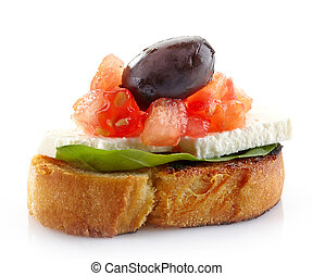 Spanish food tapas, Toast with basil, tomato, fresh cheese...