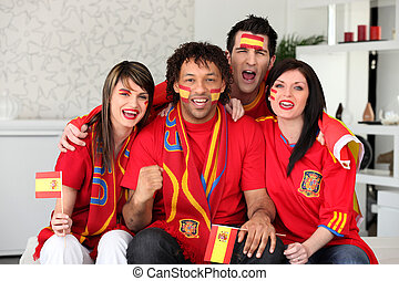 Spanish football fans at home