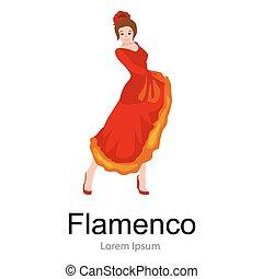 Spanish girl flamenco dancer in red dress,  beautiful dance, happy sexy woman dancing