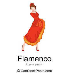 Spanish girl flamenco dancer in red dress,  beautiful dance, happy sexy woman dancing