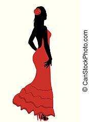 Spanish girl in flamenco dress
