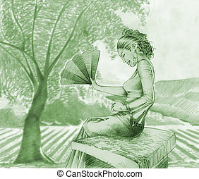 Spanish Girl - Spanish girl in a field of olive trees