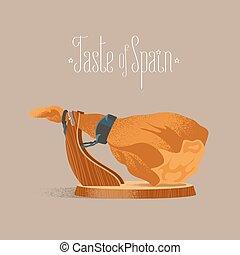Spanish jamon vector illustration. Dry-cured pig leg for...