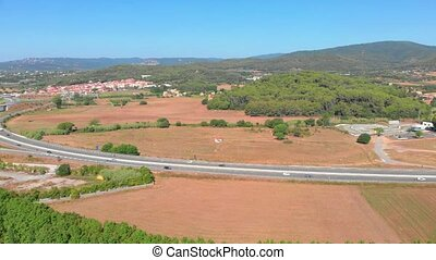 Spanish landscape make with drone near the town Palamos