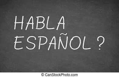 Spanish language learning concept image. Teacher or student...