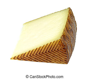 Spanish manchego cheese portion on isolated on white...