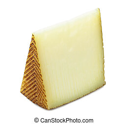 Spanish manchego cheese portion on isolated