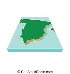 Spanish map icon, cartoon style