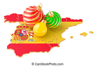 Spanish map with colored Christmas balls. New Year and Christmas holidays concept, 3D rendering