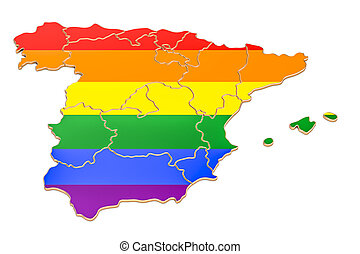 Spanish map with LGBT flag, 3D rendering