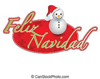 Spanish - merry christmas snowman
