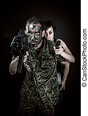 Spanish military and girl