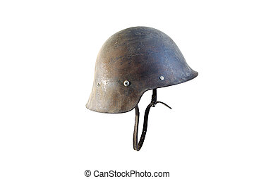 Spanish military helmet isolated on white background