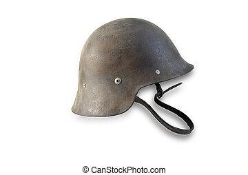 Spanish military helmet isolated on white background