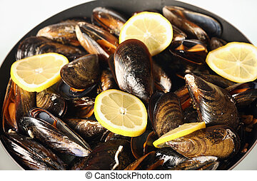 Spanish mussels on a frying pan