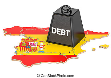 Spanish national debt or budget deficit, financial crisis concept, 3D rendering