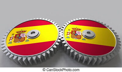 Spanish national project. Flags of Spain on moving cogwheels. Conceptual animation