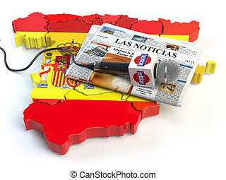 "Spanish news, press and journalism concept. Microphone and newspaper with headline ""Las Noticias"" (spanish for: news)on the map in colors of the flag of Spain."