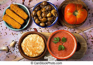 spanish omelet, gazpacho, escargots, fish sticks