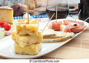 Spanish omelette and tapas platter